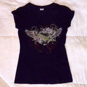 Tops - Angel Heart & Wings Graphic Tee Shirt